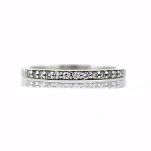 Estate 13 Round Brilliant Diamonds = .15cts, 14K White Gold Ring BD0766