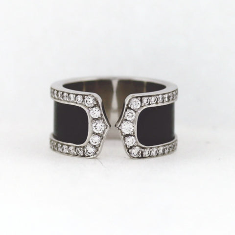 Cartier Double C's .90 ctw Diamond and Enamel 18K White Gold Band BD0792