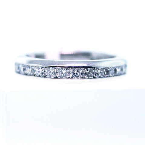 Estate 28 = 1.37 VVS VS G H Size 6 Tiffany & Co. Lucida Paperwork from Tiffany & Co. with certs Platinum Eternity Band BND1538