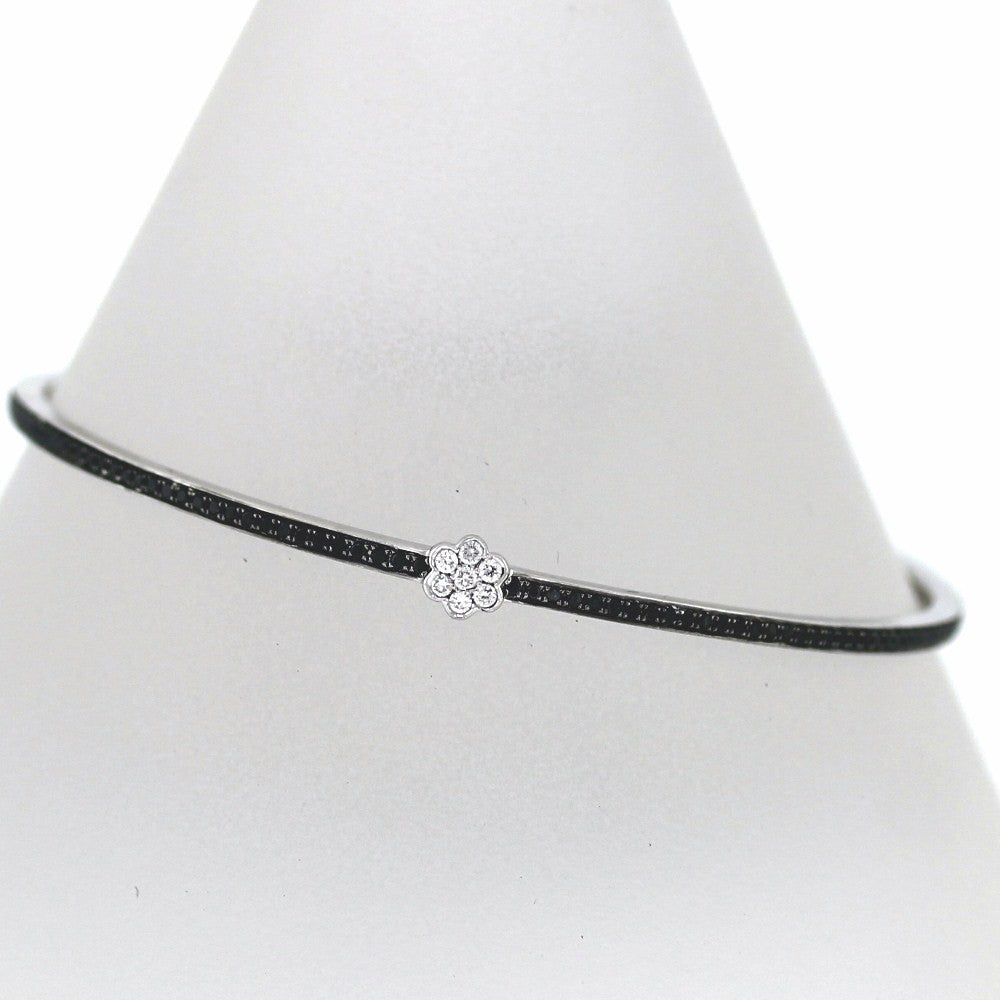 10 Round Brilliant = .11cts, 157 Round Brilliant = 1.11ct Black Flower 63mm Inner 18K White Gold Bracelet BNGL1109