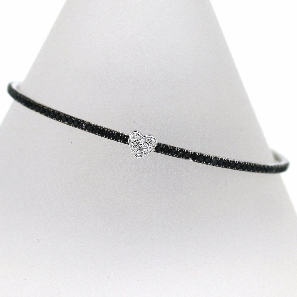 121 Black = 2.1215 Round Brilliant = .08 10.68gr 63mm Inner 18K White Gold Bracelet BNGL1151