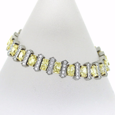 11 Oval = 6.18ct Fancy Yellow Intense 115 Round Brilliant = 1.62 G SI1 12 Ovals Missing Platinum & 18K Gold Bracelet BR1844