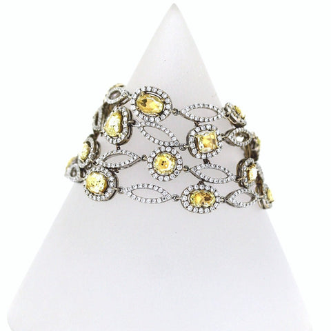 12.40ct Fancy Yellow Diamond Rose Cut 23 Stones &  10.74ctw Diamond Round 892 Stones 18K White Gold 63.19gr Bracelet BR1975