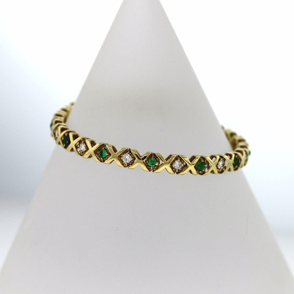 Estate X O Emerald & Diamond 11 = .80ctw 14.0gr 14K Yellow Gold Bracelet BR2015