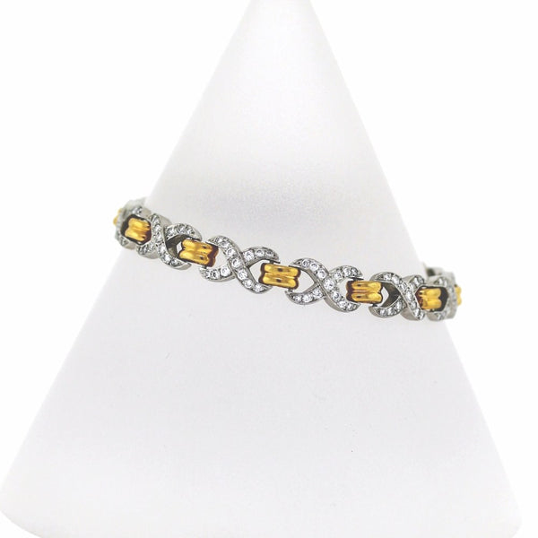 Estate 3.00ctw 30.6gr singed AMJ Platinum & 18K Gold Bracelet BR2124