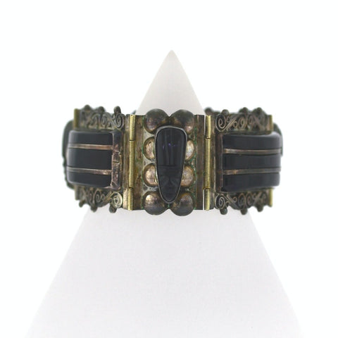 Estate Carved Onyx Station Bracelet Mexico 78.1gr Sterling Silver Bracelet BR2153