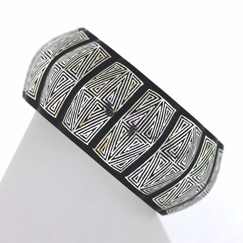Estate Black Bronze Silver Inlay Geometric