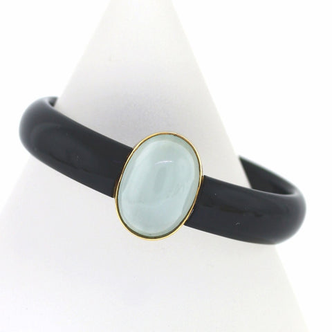 Estate Onyx & Oval Aquamarine Bangle Bracelet BR2246