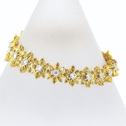 140 Marquise Diamonds = 8.67ct Fancy Yellow Diamonds V 20 Round Brilliant Diamonds = 1.83 20.62gr Two Tone 18K Gold Bracelet BR2293