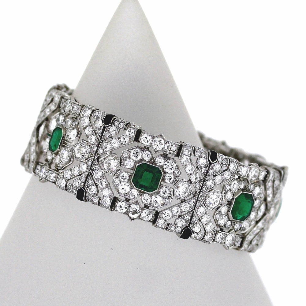 "Estate Art Deco 7 Emerald = 10.00cts Approx. Diamonds = 20.00cts Approx. 51.2gr 7"" Platinum Bracelet BR2338"