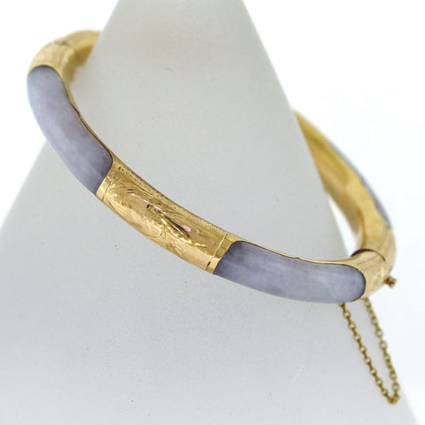 Estate Lavender Jade Bangle 25.22gr 14K Yellow Gold Bracelet BR2381