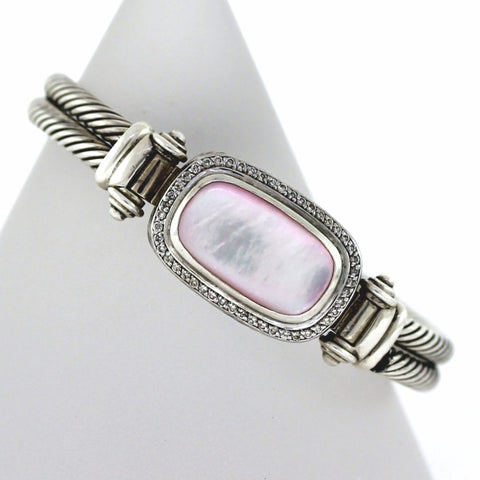 Estate David Yurman Pink Mother of Pearl double row Sterling Silver BR3096