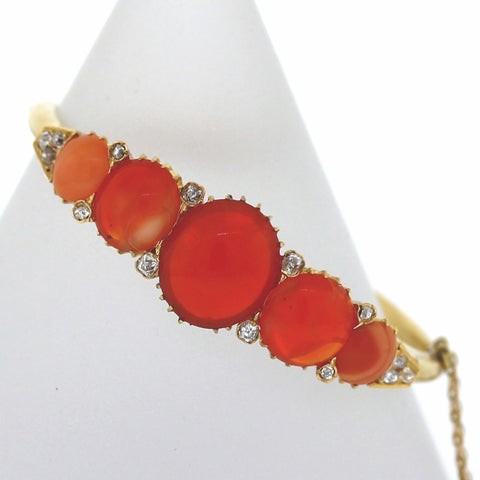 5 round Opal and Rose Diamond 29.25gr, 18K Yellow Gold Bracelet BR3101
