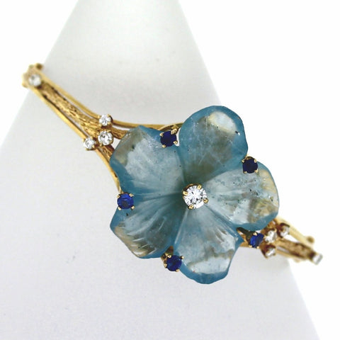Estate Aquamarine flower 9 Round Brilliant Diamonds = .50 5 Sapphires = .35 23.8gr, 14K Yellow Gold Bracelet BR3128