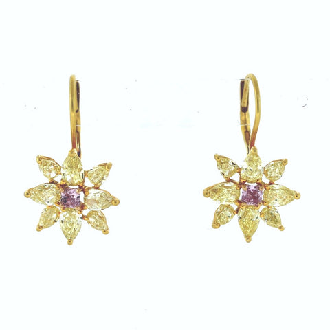 2 Radiant Cut = 0.30ct Fancy Pink SI1 16 Pear Shape = 3.76ct Fancy Yellow I VS1 4.2gr 18K Yellow Gold Earrings ER1595