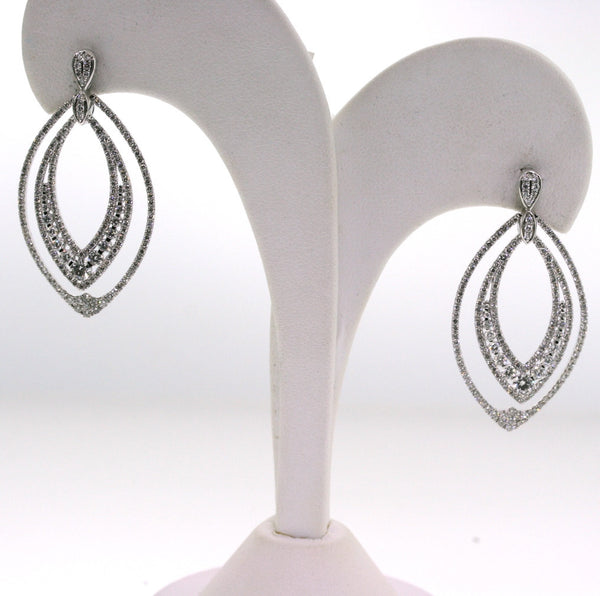 14 Round Brilliant Cut Diamonds = .73, 350 Round Brilliant Cut Diamonds = 2.15, 9.97gr, 18K White Gold Earrings ER2481
