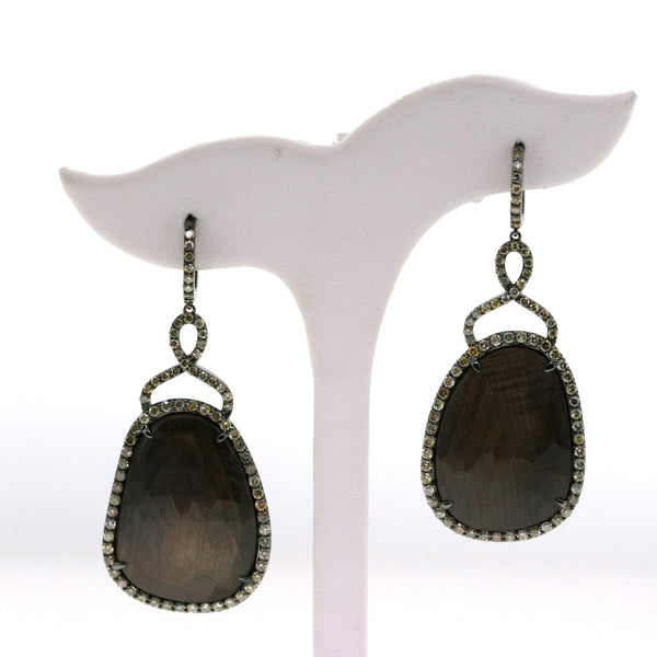 2 Brown Sapphire Slices = 54.29 150 Round Brilliant = 3.00 Tapered Baguette 18K White Gold Earrings ER2489