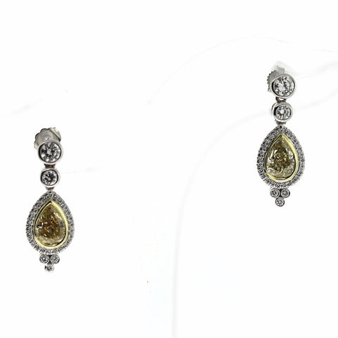 3.03ct Fancy Yellow Diamond Pear Si2 2 Stones &  1.18ctw Diamond Round 63 Stones 18K 2 Tone Gold 8.20gr Earrings GIA Certified ER2653