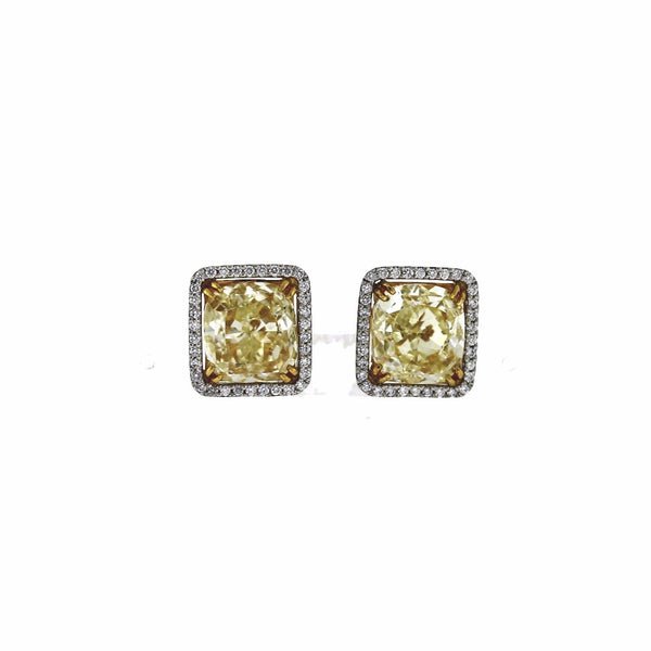 2 Cushion Cut = 11.90 Fancy Yellow 68 Round Brilliant = 1.00 GIA 15300045*15300051 Platinum & 18K Gold Earrings ER2682