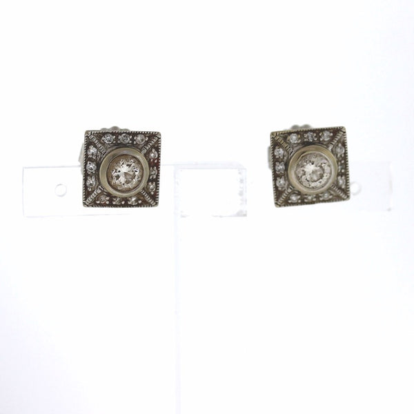 2 Round Brilliant = 1.00 24 Round Brilliant = .26 5.0gr Vintage square earrings 14K White Gold ER2779