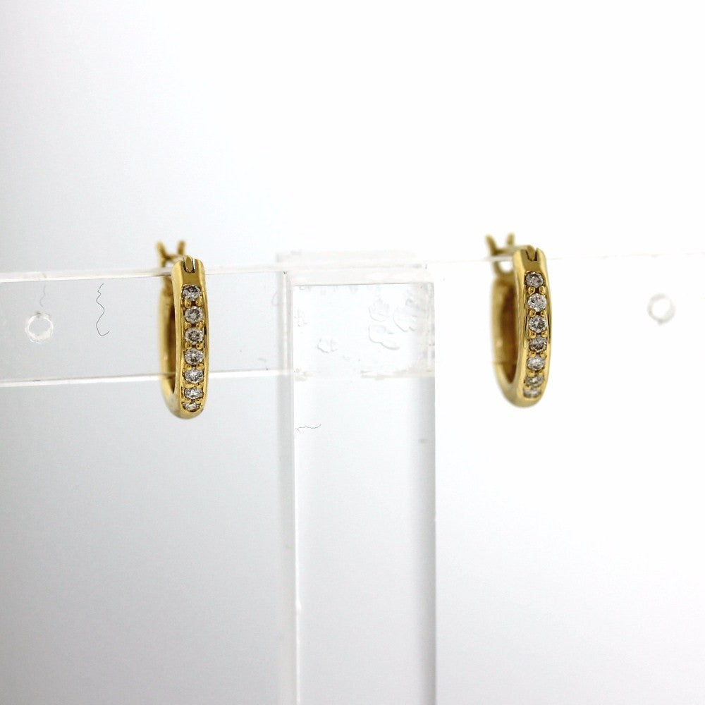 14 Round Brilliant = .09ctw 1.56gr Tiny Hoops 18K Yellow Gold Earrings ER2810