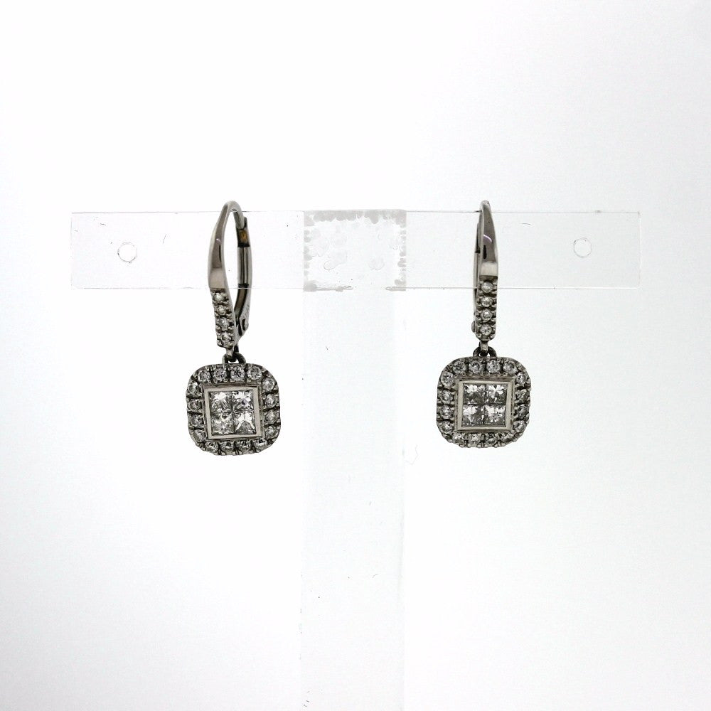 cluster white diamond cttw set invisible square gold pin earrings
