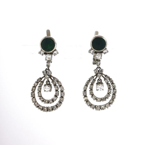 Estate Cabochon Emerald & Diamond Dangle 2.00ctw 14K White Gold Earrings ER2842