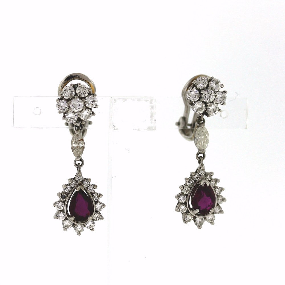 Estate Ruby & Diamond Dangle 2.00ctw 14K White Gold Earrings ER2843