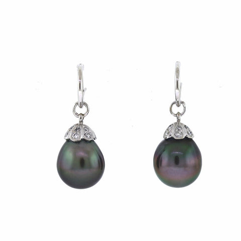 45bd909ee24c8 Black South Sea Pearl Drop Earring Diamond Accents Tiny Hoops 18K White Gold  ER2920