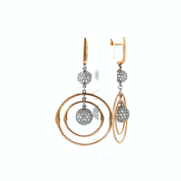 308 Round Brilliant = 3.01 Two Tie Round Brilliant Ball Circle Rose Gold = 6.90gr White Gold = 6.14gr Rose Gold & 18K White Gold Earrings ER2922