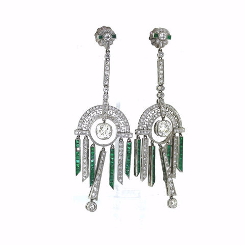 2.00 Emeralds 2 Old Mine Cut = 2.09ct VS1 Screw Back Platinum Earrings ER2931