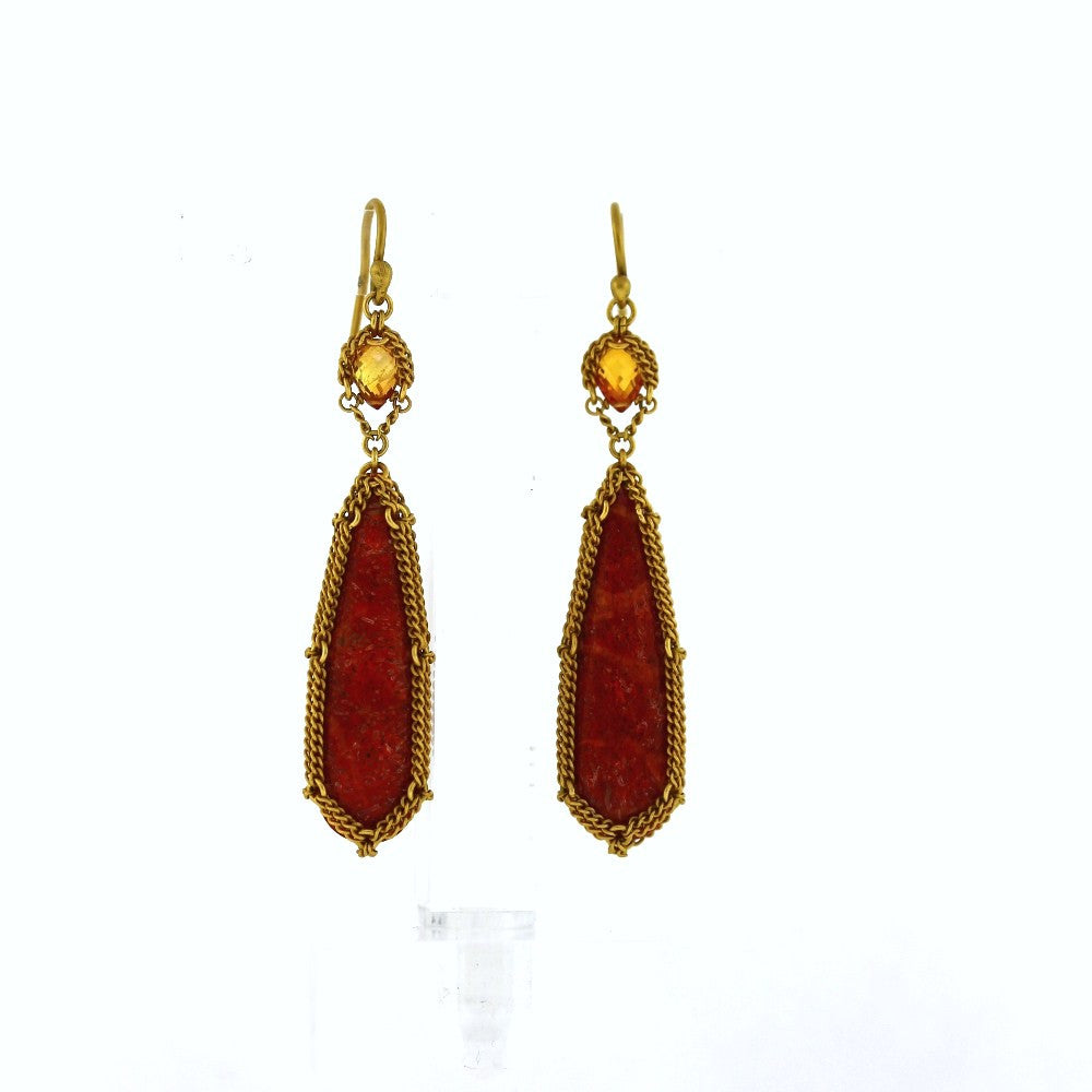 "Estate ""Anthony Nak"" Coral & Sapphire Drop Earrings 18K Yellow Gold ER2935"