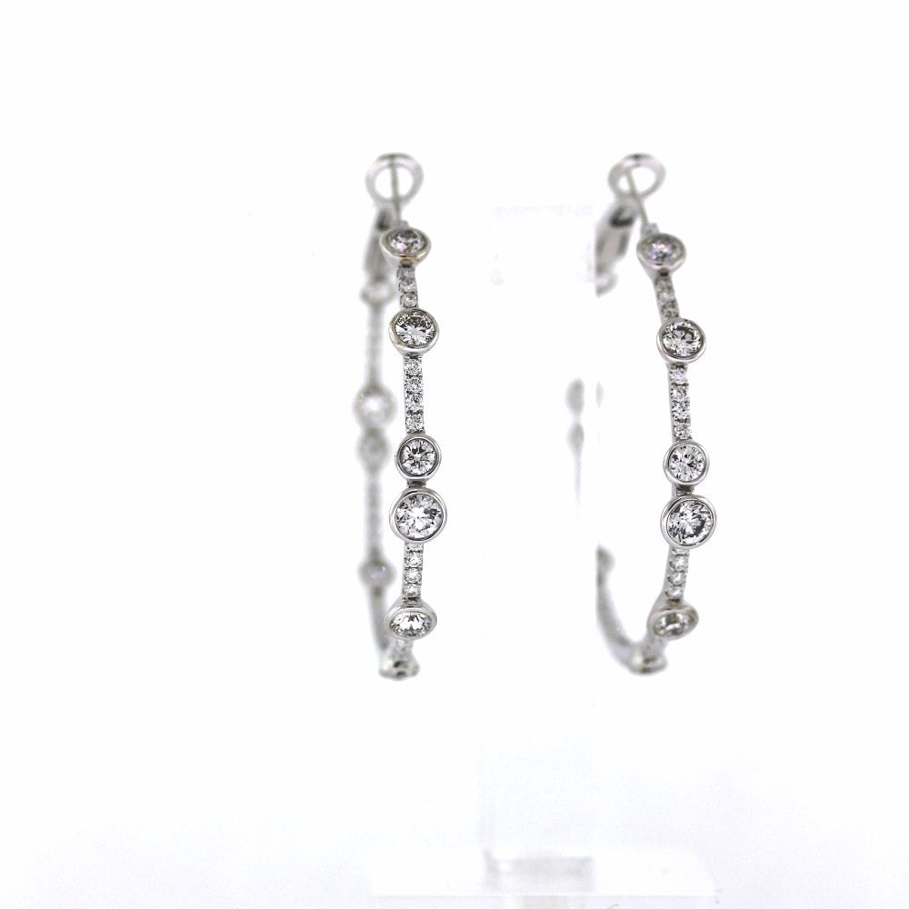 3.57ctw Bezel & Bead Hoops 18K White Gold Earrings ER2960