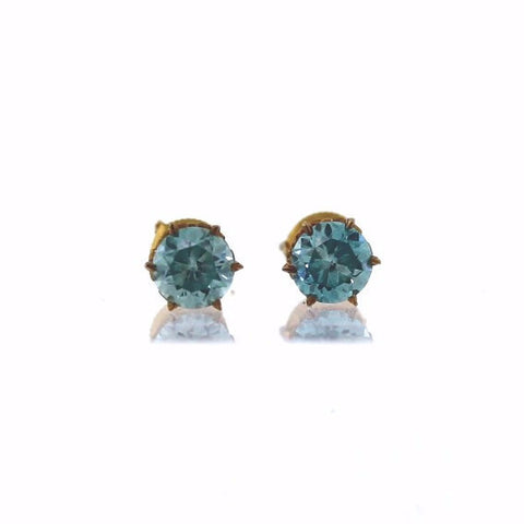 Estate Blue Zircon Studs Screw Back 1.4gr 10K Yellow Gold ER2981