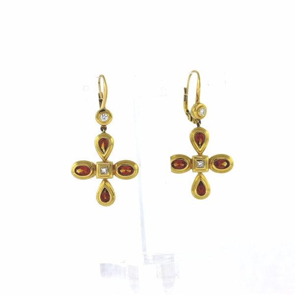 "Estate Citrine & Diamond ""Mimi So""1440962 11.54gr 18K Yellow Gold Earrings ER2984"