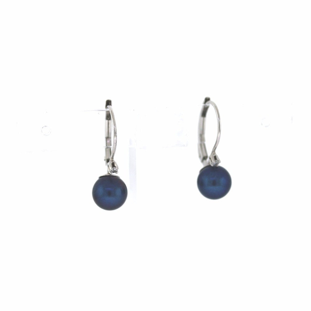 Estate 2 Round Brilliant = .04 2 Black Pearls 1.4gr leverbacks 14K White Gold Earrings ER3014