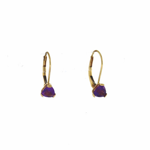 Estate Amethyst Trillion Cut leverbacks 1.0gr 14K Yellow Gold Earrings ER3015