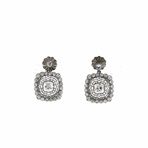 1.91ct Diamond Old Mine Cut 2 Stones &  1.40ctw Diamond Round Brilliant Platinum  Earrings Screw Backs ER3045