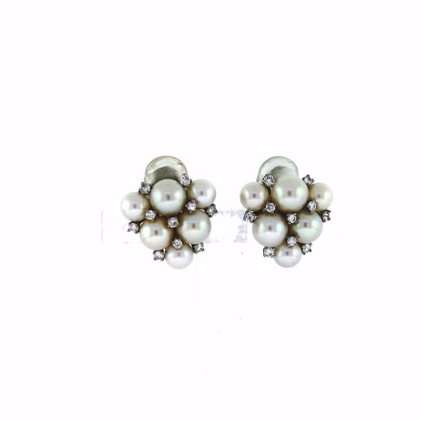 Estate Carvin French Pearl & Diamond 18K White Gold Earrings ER3046