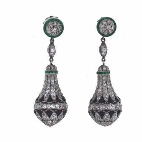 0.42ct Diamond Old European Cut 2 Stones &  5.50ctw Diamond Old Mine Cut Platinum  Earrings With Emeralds And Onyx ER3075