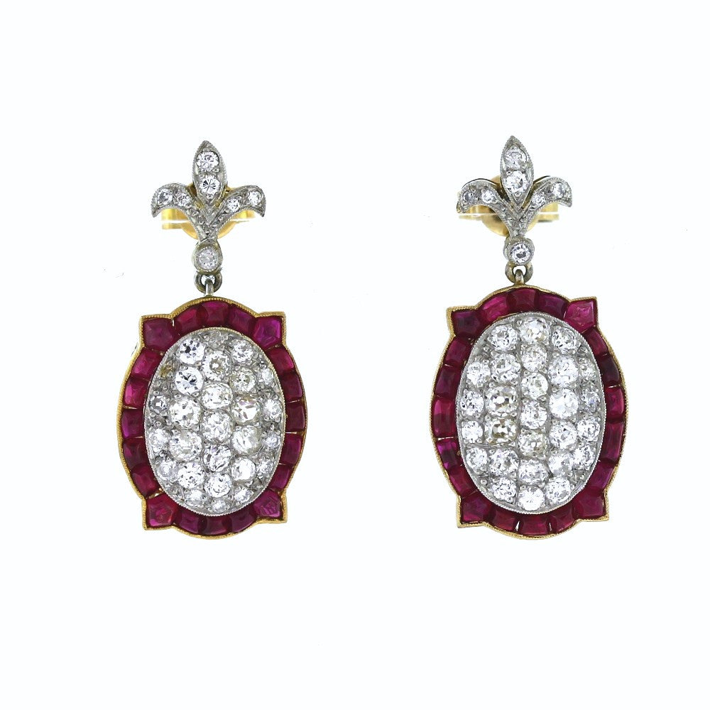Old Mine Cut = 2.00 Cabochon Rubies Oval Platinum & 18K Gold Earrings ER3089