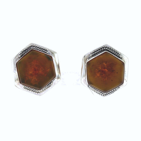 Estate Lori Bonn Amber 22.5gr Clip On Sterling Silver ER3125