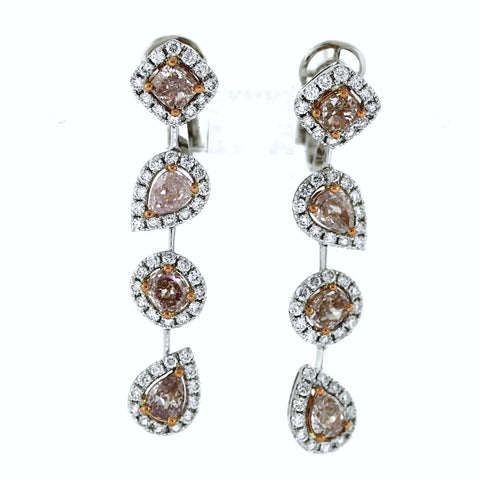 3.11ct Fancy Pink Diamond 8 Stones &  1.47ctw Diamond Round 100 Stones 18K 2 Tone Gold 9.68gr Earrings GIA Certified Pinks ER3132