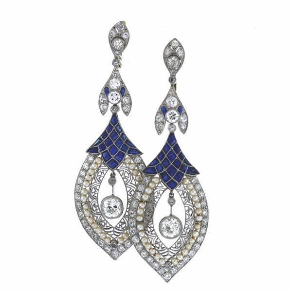 2 European Cut Diamonds = 1.40 ctw, 80 European Cut Diamonds = 2.90 ctw, Sapphire & Pearls, Platinum Earrings ER3147