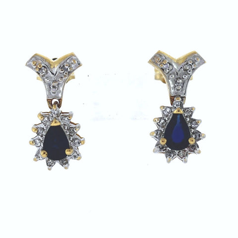 Estate 2 Pear Shape Sapphire = 28 Single Cut = .20 3.7gr 14K Yellow Gold Earrings ER3212