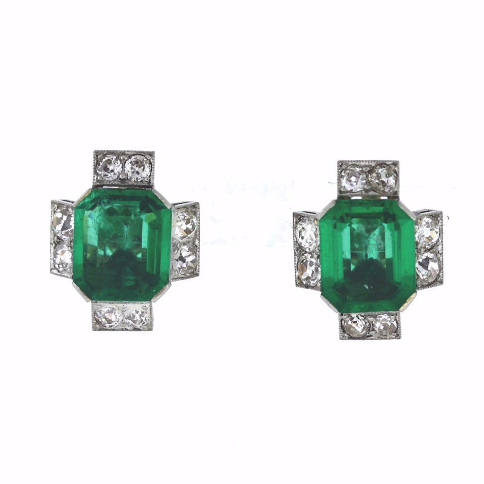 Estate Green stone & Approx. 16 Old European Cut = 4.50ctw Two Tone 14K Gold Earrings ER3236