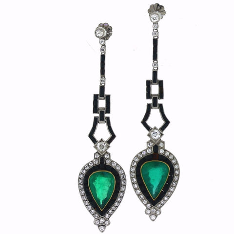 2 Pear Shape Emeralds = 6.03cts Onyx & Diamond Platinum Earrings ER3248