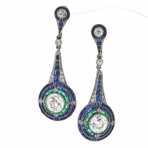 2 European Cut Diamonds = 2.71 Old Mine Cut = .70 Sapphire = 2.40 Emerald = 1.00 8.61gr, Platinum and 18K Gold Earrings ER3304