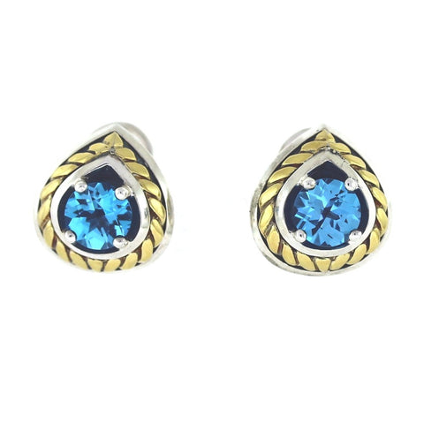 Estate Blue Topaz 18K and Sterling 12.5gr