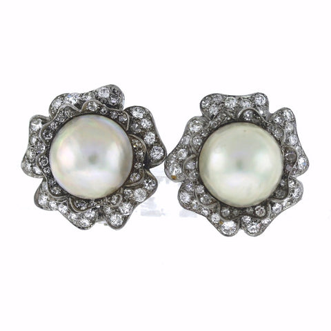 Estate Deco Mabe Pearl & Diamonds 2.00ctw 15.46gr, Platinum and 14K Gold Earrings ER3331